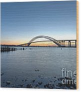 Bayonne Bridge Longe Exposure Sunset Wood Print