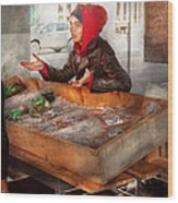 Bazaar - I Sell Fish  Wood Print by Mike Savad