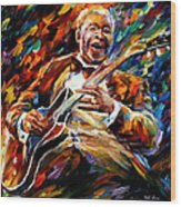 Bb King - Palette Knife Oil Painting On Canvas By Leonid Afremov Wood Print