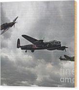 Bbmf Lancaster Spitfire Hurricane Wood Print