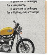 Be Happy Triumph Wood Print