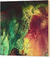 Be Together - Red Green Abstract Art By Kredart Wood Print