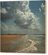 Beach And Clouds Wood Print