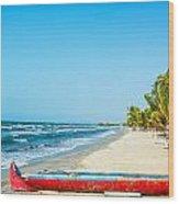 Beach And Red Canoe Wood Print