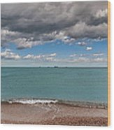 Beach And Ships. Wood Print