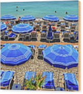 Beach At Nice France Wood Print