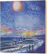 Beach At Night Wood Print by Patricia Allingham Carlson