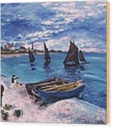 Beach At Sainte Adresse Monet Wood Print