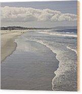 Beach At Santa Monica Wood Print