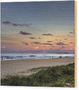 Beach At Twilight Wood Print