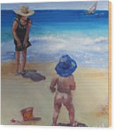 Beach Baby With Blue Hat Wood Print