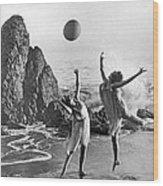 Beach Ball Dancing Wood Print
