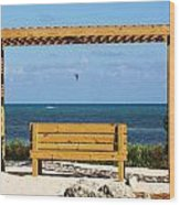 Beach Bench Wood Print