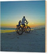 Beach Biking Wood Print