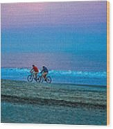 Beach Biking  Wood Print