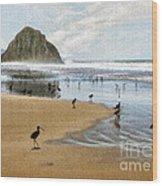 Beach Birds Impasto Wood Print