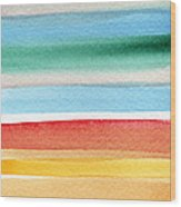 Beach Blanket- Colorful Abstract Painting Wood Print
