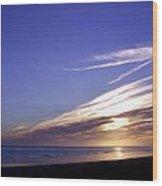 Beach Blue Sunset Wood Print