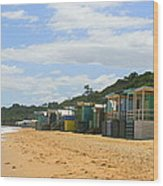 Beach Boxes Mornington Wood Print