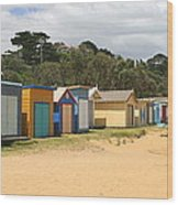 Beach Boxes Mount Martha Wood Print by Rachael Curry