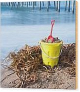 Beach Bucket In Sand Wood Print