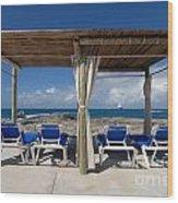 Beach Cabana With Lounge Chairs Wood Print