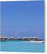 Beach Cabanas, Baros, Maldives Wood Print