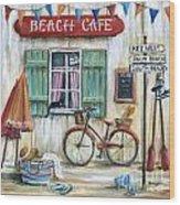 Beach Cafe Wood Print