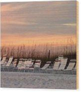 Beach Chairs At Dusk Wood Print