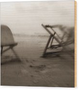 Beach Chairs  Wood Print