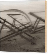 Beach Chairs Profile Wood Print