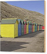 Beach Chalets - Whitby Wood Print