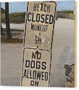 Beach Closed And No Dogs Allowed Wood Print