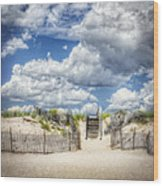 Beach Clouds And Fence Wood Print