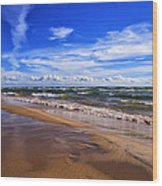 Beach Combing Wood Print
