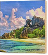 Beach Cove On La Digue Wood Print