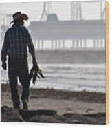 Beach Cowboy Wood Print