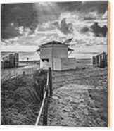 Beach Entrance To Old Glory - Black And White Wood Print by Ian Monk