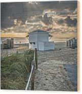 Beach Entrance To Old Glory - Hdr Style Wood Print