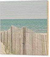 Beach Fence Ocean Shabby Photograph Wood Print by Elle Moss