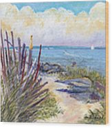Beach Fence With Ferry Wood Print