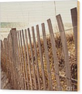 Beach Fencing Wood Print