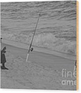 Beach Fishing Wood Print