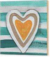 Beach Glass Hearts Wood Print