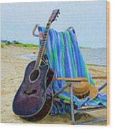 Beach Guitar Wood Print