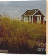 Beach House W Scripture Wood Print