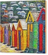 Beach Houses At Fish Hoek Wood Print