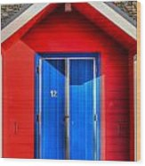 Beach Hut 12 Wood Print