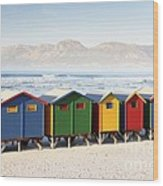 Beach Huts At Muizenberg Wood Print