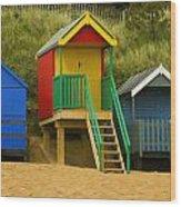 Beach Huts At Wells Next To Sea 1 Wood Print